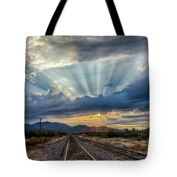 Follow The Rays Tote Bag