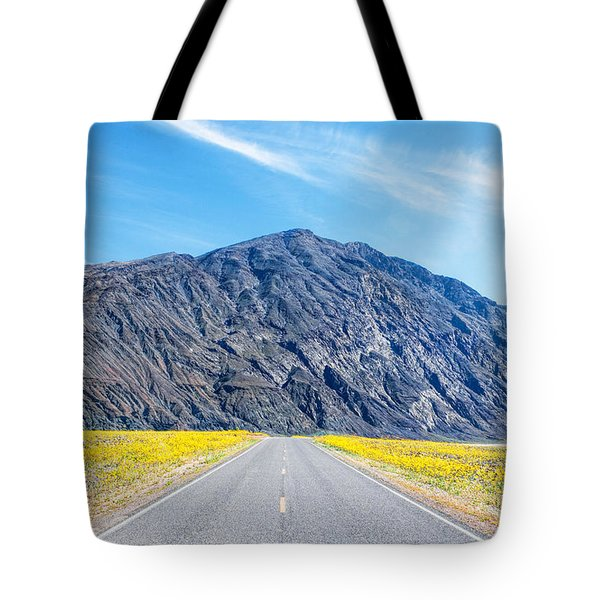 Follow The Yellow Lined Road Tote Bag