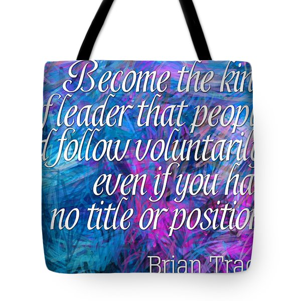 Tote Bag featuring the digital art Follow Voluntarily by Holley Jacobs