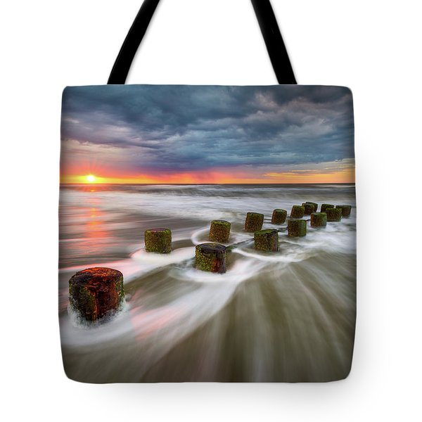 Folly Beach Charleston Sc South Carolina Sunrise Seascape Tote Bag