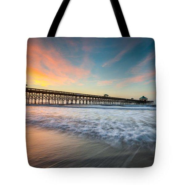 Folly Beach Pier At Dawn - Charleston Sc Tote Bag
