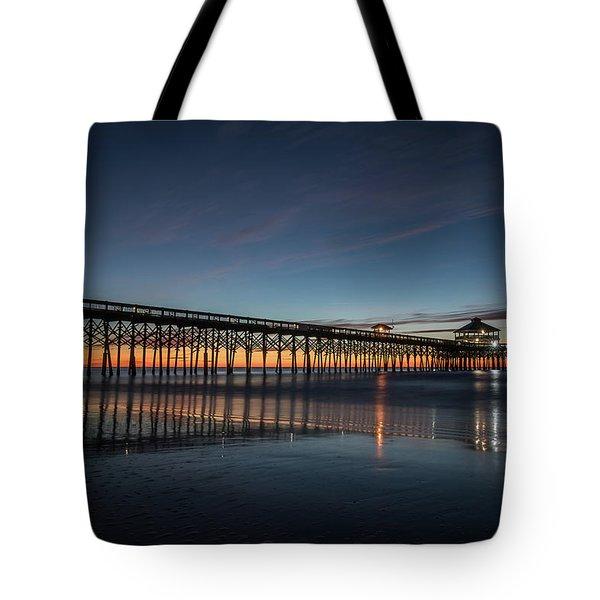 Folly Beach Pier Before Sunrise Tote Bag