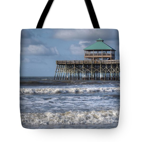 Tote Bag featuring the photograph Folly Beach Pier by Michael Colgate