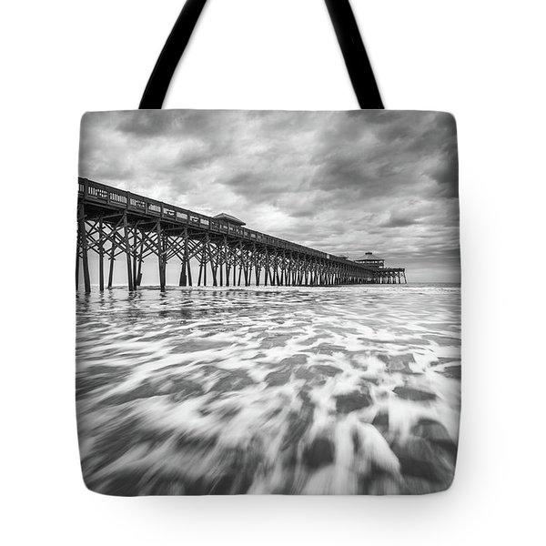 Folly Beach Pier Sc Scenic Seascape Photography Tote Bag