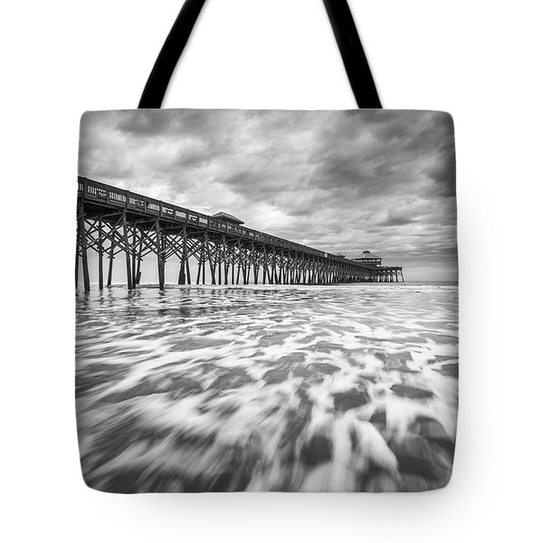Folly Beach Pier Sc Scenic Seascape Photography Tote Bag