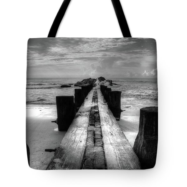 Folly Beach Pilings Charleston South Carolina In Black And White  Tote Bag