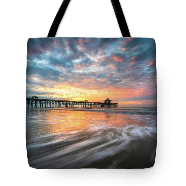 Folly Beach Sc Ocean Seascape Charleston South Carolina Scenic Landscape Tote Bag