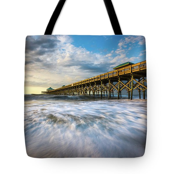 Folly Beach Sc Pier Charleston South Carolina Seascape Tote Bag