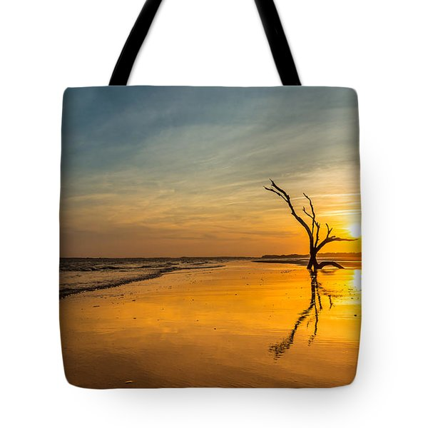 Folly Beach Skeleton Tree At Sunset - Folly Beach Sc Tote Bag