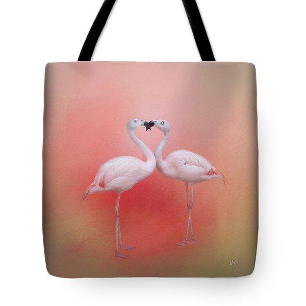 Fond Flamingos Tote Bag