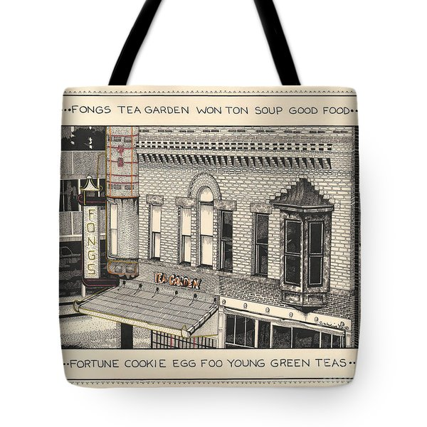 Tote Bag featuring the drawing Fongs Tea Garden by Chholing Taha