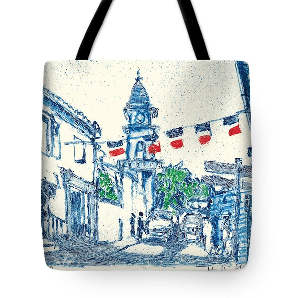 Tote Bag featuring the painting Fontvieille Village Provence by Martin Stankewitz