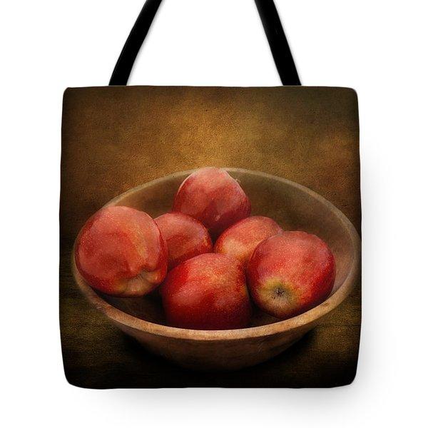 Food - Apples - A Bowl Of Apples  Tote Bag by Mike Savad