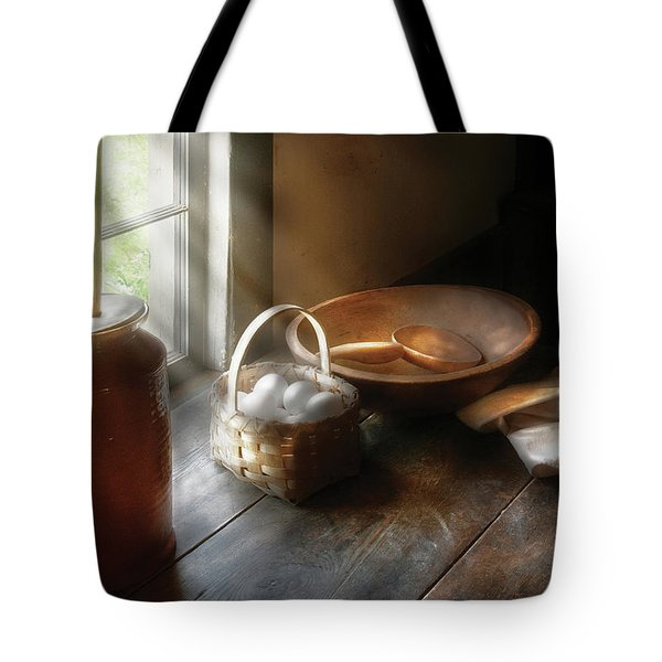 Food - Morning Eggs Tote Bag by Mike Savad