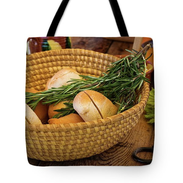 Food - Bread - Rolls And Rosemary Tote Bag by Mike Savad