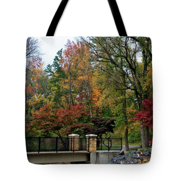 Foot Bridge In The Fall Tote Bag