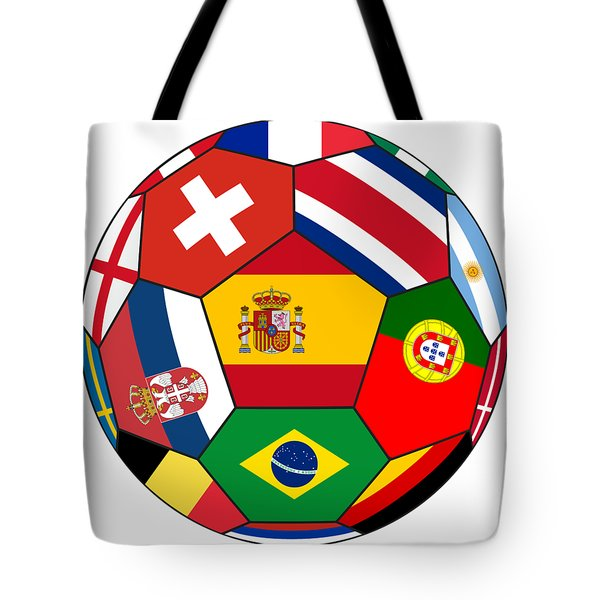 Football Ball With Various Flags Tote Bag