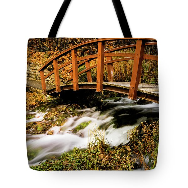 Footbridge At Cascade Springs Tote Bag