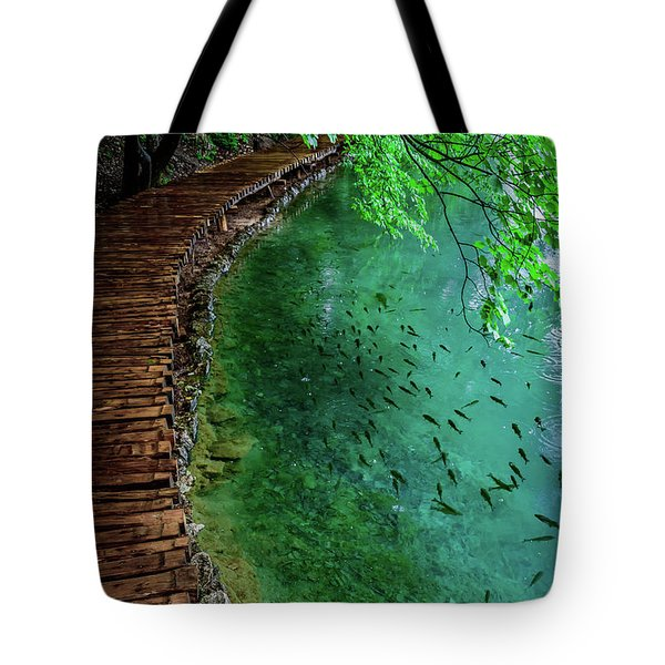 Footpaths And Fish - Plitvice Lakes National Park, Croatia Tote Bag
