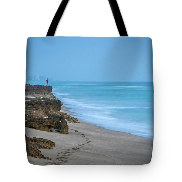 Tote Bag featuring the photograph Footprints And Rocks by Tom Claud