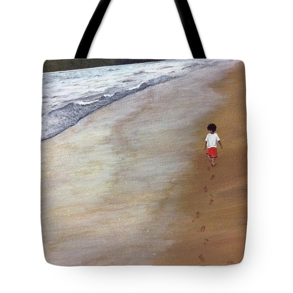 Tote Bag featuring the painting Footprints by Elizabeth Mundaden