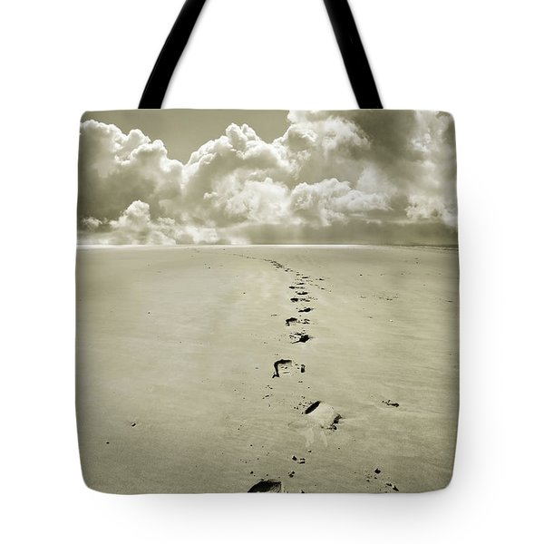 Footprints In Sand Tote Bag by Mal Bray