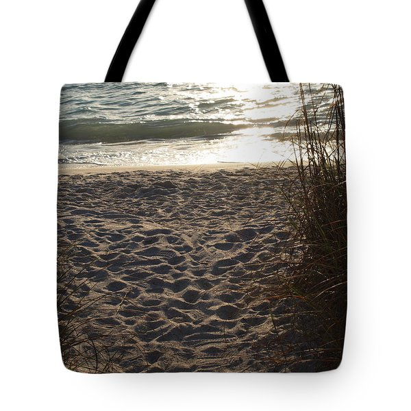 Tote Bag featuring the photograph Footprints In The Dunes by Robert Margetts