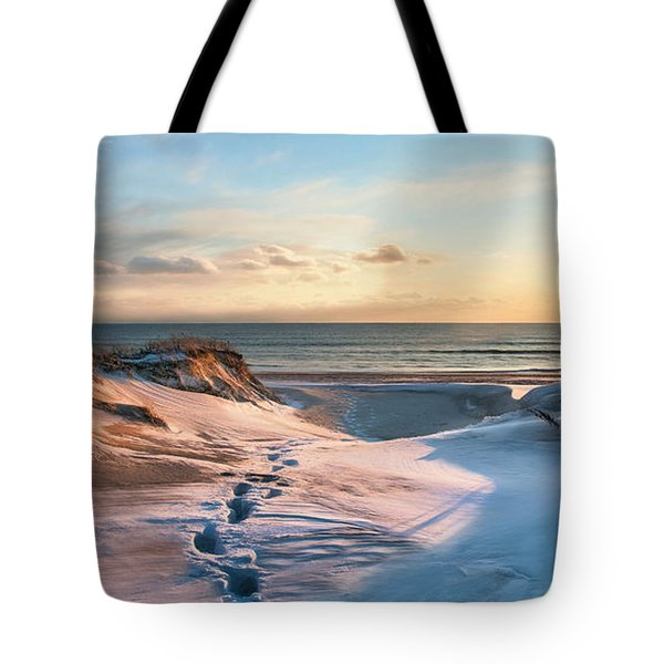 Tote Bag featuring the photograph Footprints In The Snow by Robin-Lee Vieira