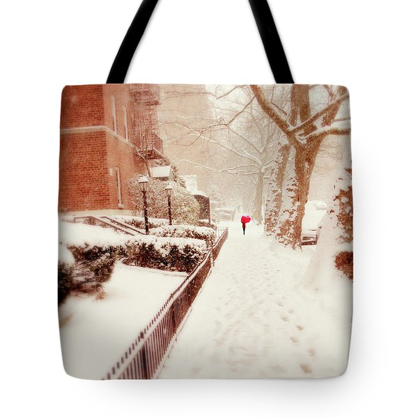 Tote Bag featuring the photograph The Red Umbrella by Jessica Jenney