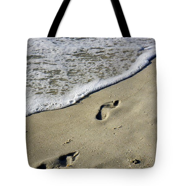 Footprints On The Beach Tote Bag by Robb Stan