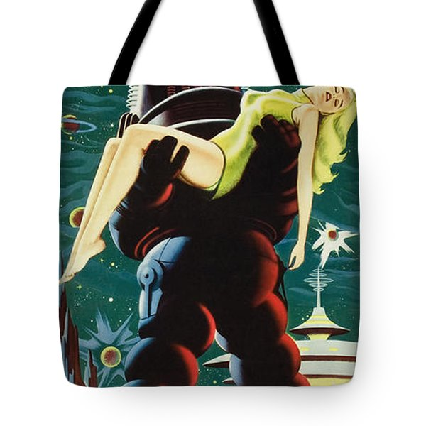 Forbidden Planet In Cinemascope Retro Classic Movie Poster Portraite Tote Bag by R Muirhead Art