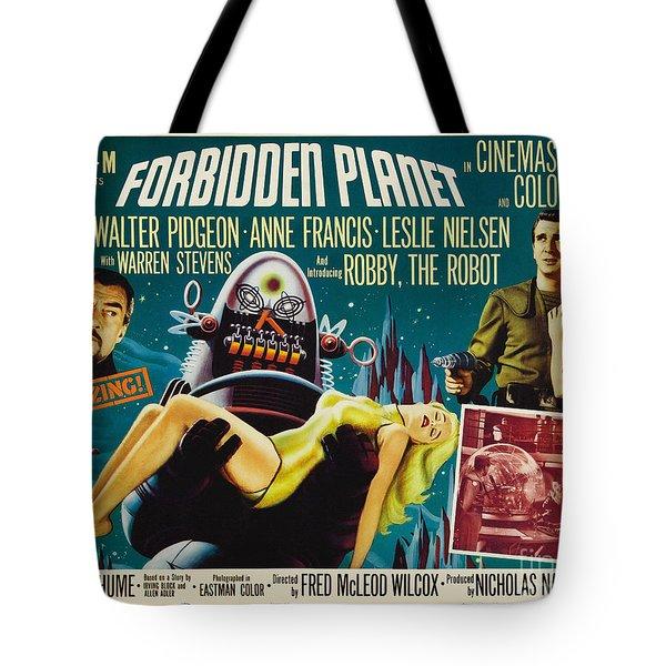 Forbidden Planet In Cinemascope Retro Classic Movie Poster Tote Bag