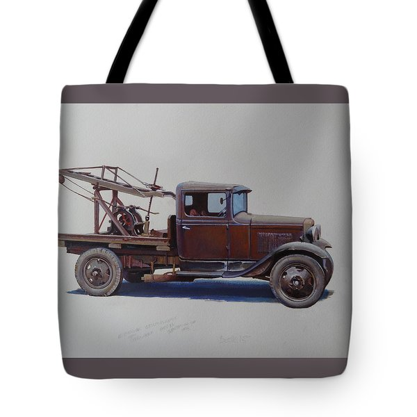 Tote Bag featuring the painting Ford A Type Wrecker. by Mike  Jeffries