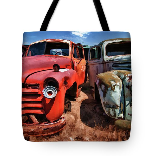 Ford And Chevy Standoff Tote Bag