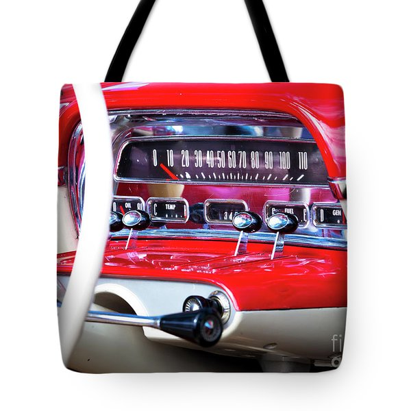 Tote Bag featuring the photograph Ford Dash by Chris Dutton