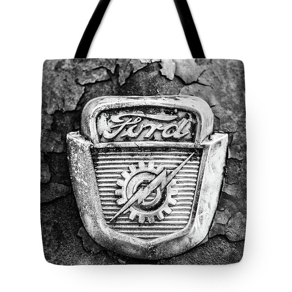 Ford Emblem On A Rusted Hood Verticle Tote Bag