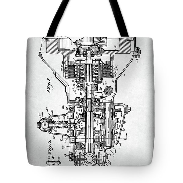 Tote Bag featuring the digital art Ford Engine Patent by Taylan Apukovska