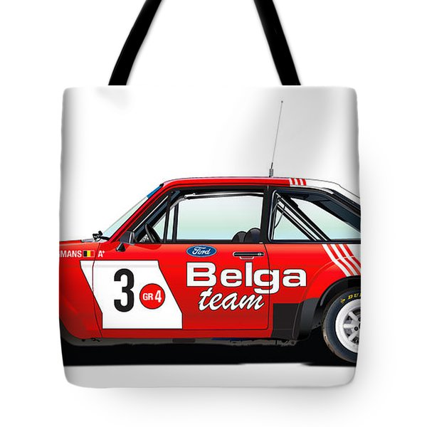 Ford Escort Rs Belga Team Illustration Tote Bag