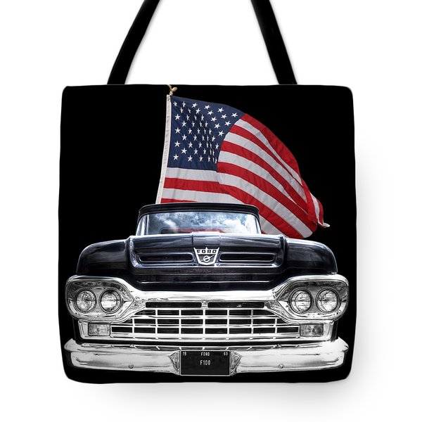 Ford F100 With U.s.flag On Black Tote Bag