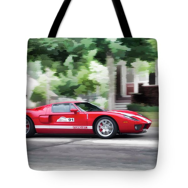 Tote Bag featuring the photograph Ford Gt Entering Lake Mills by Joel Witmeyer