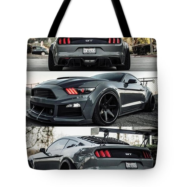 Tote Bag featuring the photograph  Ford Mustang Badass Widebody Muscle Car by Sheila Mcdonald