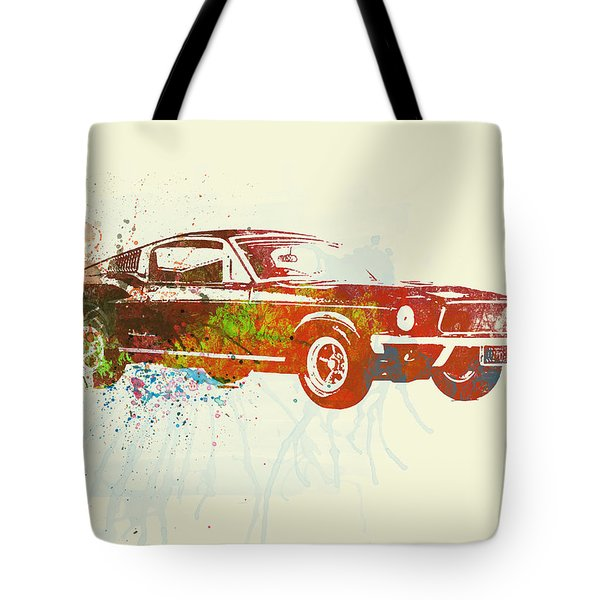 Ford Mustang Watercolor Tote Bag by Naxart Studio