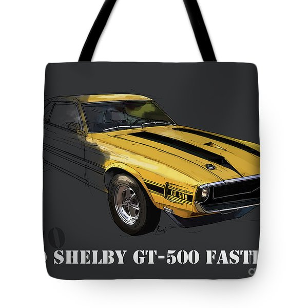 Ford Shelby Gt500 Fastback, Yellow And Black Original Art Print Tote Bag