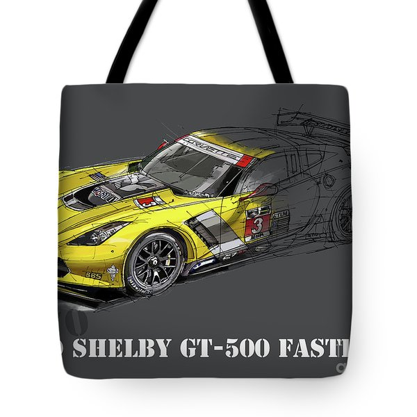 Ford Shelby Gt500 Fastback, Yellow And Black Sketch Tote Bag