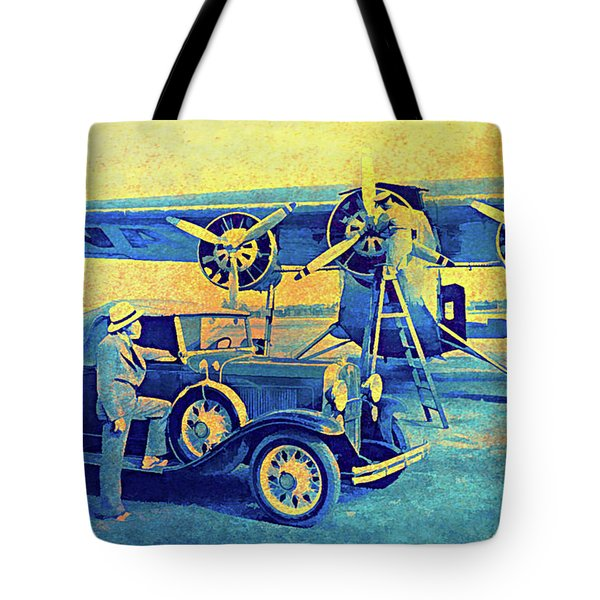 Ford Trimotor And 1931 Model A Roadster Tote Bag