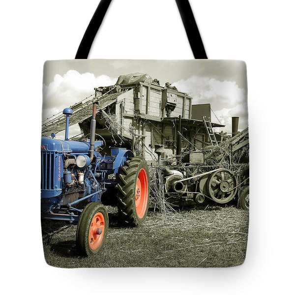 Fordson And The Threshing Machine Tote Bag by Rob Hawkins