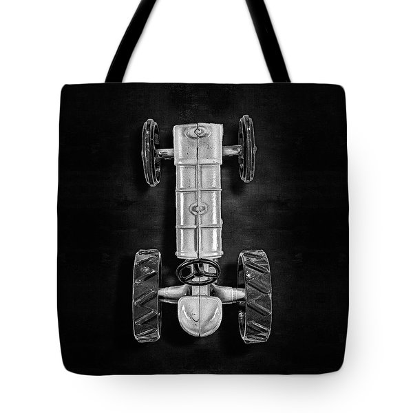 Tote Bag featuring the photograph Fordson Tractor Top Bw by YoPedro