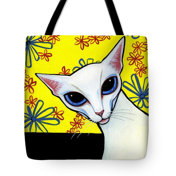 Foreign White Cat Tote Bag by Leanne Wilkes