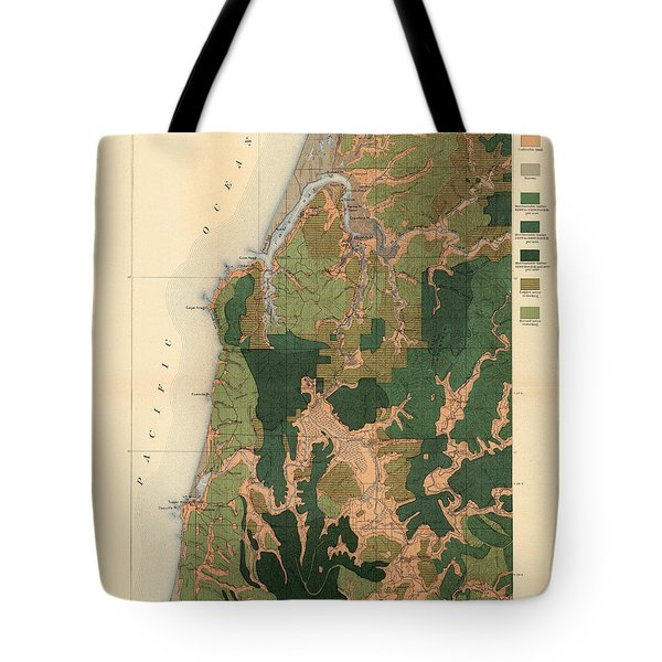 Forest Cover Map 1886-87 - Coos Bay Quadrangle - Oregon - Geological Map Tote Bag