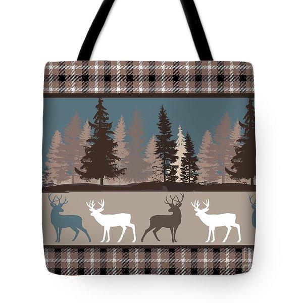 Forest Deer Lodge Plaid II Tote Bag